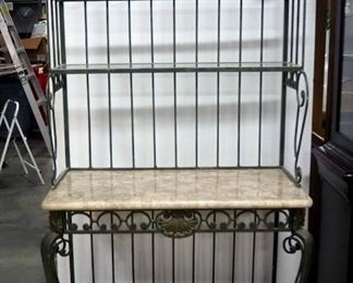 """Wrought Iron And Marble Tiled Baker's Rack, 74"""" H x 40"""" W x 20"""" D, Two Pieces"""
