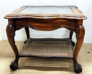 """Wood And Glass End Table With Cane Lower Shelf, 21"""" H x 28"""" W x 24"""" D"""