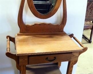 """Wood Wash Stand With Single Drawer, Brass Pull And Articulating Mirror, 57"""" H x 31"""" W x 16.5"""" D"""