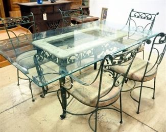 """Glass Topped Dining Table With Beveled Edge, 30"""" H x 42"""" W x 72"""" L, With 5 Matching Metal Chairs With Padded Sheets"""