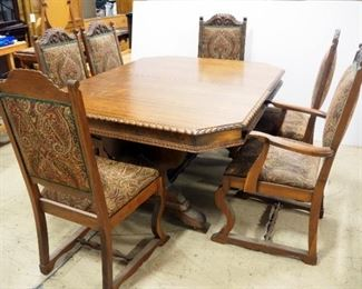 """Wood Dining Room Table With Carved Wood Edges, On Wheels, 30"""" H x 61"""" L x 47.5"""" W, With 6 Matching Upholstered Chairs"""