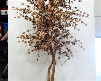 Faux Cherry Blossom Tree In Wicker Basket, Approx 6' Tall