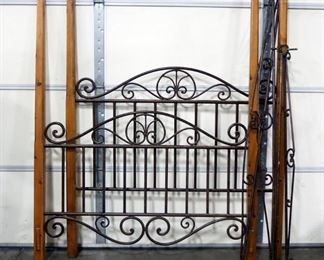 """Queen Size Bed Headboard And Footboard, 78"""" H Corner Posts, Scrolled Metal Pieces To Create A Frame For Canopy Top"""