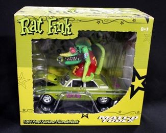 Rat Fink 1:24 Scale Diecast Models, Includes 1964 Ford Fairlane Thunderbolt, 1950 Divco Delivery Truck, And Ford Mercury Chop Top Hot Rod, Total Qty 3