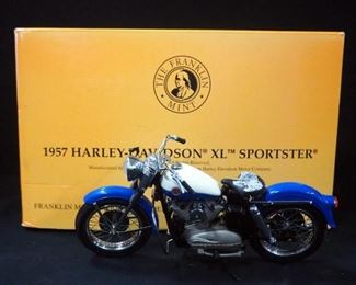 Franklin Mint 1:10 Scale 1957 Harley Davidson XL Sportster, No. 1098/9900, With COA In Box