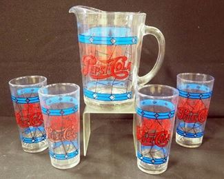Pepsi- Cola Stained Glass Styled Glass Pitcher And 4 Tumbler Set