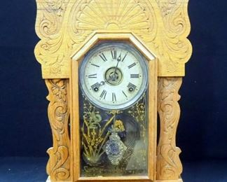 Antique Sessions Table Clock With Carved Wood And Stenciled Glass Door, Includes Winding Key