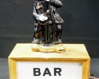 """Bar Open Lighted Sign With Ceramic Red Nosed Drunk On Top, 15"""" High, Powers On"""