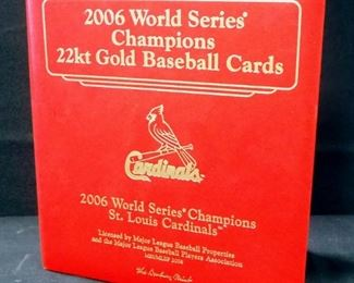 Danbury Mint 2006 World Series Champions 22k Gold St. Louis Cardinals Baseball Cards In Binder, Total Qty 32 Cards, And Babe Ruth Card
