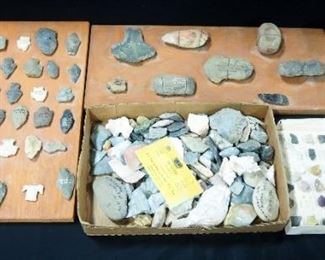 Mineral Sample Collection On Identification Sheets And Arrowhead And Rock Collection, And More