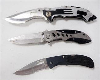 Three Folding Knives, Includes Smith & Wesson ExtremeOps, Whetstone Cutlery, And Bear MGC Mac Tools
