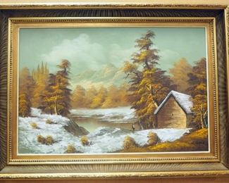 """Original Oil On Canvas By S. Walford Of Cabin By Lake In Mountains, Framed, 43.5"""" W x 31.75"""" W"""