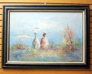 """Original Oil On Canvas By Mare Larcot Of 2 Women By Lake, Framed 43 """" W x 31"""" H"""