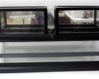 """Three Display Cases For Diecast Cars, Wood Framed, 1 Is 7"""" H x 28"""" W x 8"""" D With Mirrored Bottom, 2 Are 6.25"""" H x 13.5""""W x 7.5"""" D, With Mirrored Back"""