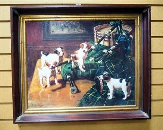 """John Hayes Print On Board Of """"The Piper"""", Dogs Gnawing On Bagpipes, 24"""" W x 20"""" H"""