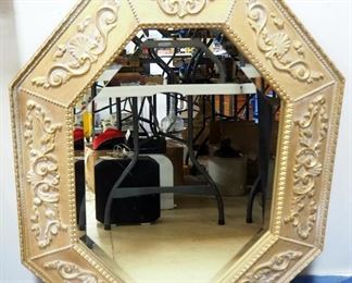 """Octagon Shaped Mirror With Beveled Glass, Framed, 31.25"""" x 38.5"""", Can Hang Either Direction"""
