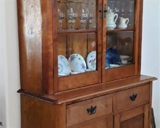 Primitive Stepback Cabinet with pegs & worm holes