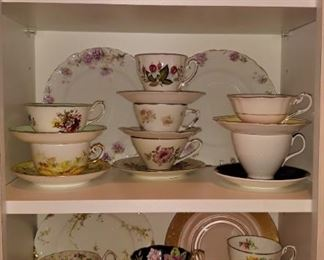 Lots of pretty china cups & saucers, beautiful crystal candlesticks, platters & serving pieces (not all pictured)