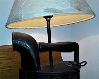Vintage Iron, hand painted and converted to lamp