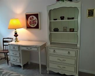 French Provincial furniture - 2 desks & 2 bookcases