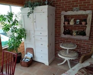 Painted Furniture Wardrobe, Shadowbox frame & 2 Tier End Table