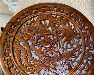 CHINESE ROUND WOOD CARVING PANEL