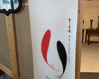 JAPANESE HANGING SCROLL ART PAINTING RED AND BLACK FISH