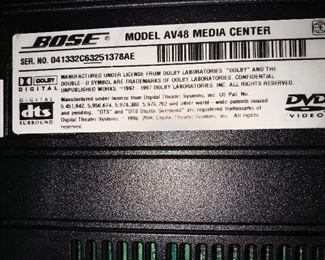 BOSE MEDIA CENTER MODEL AV48 W/5 BOSE SPEAKERS AND BOSE PS48 iii POWERED SPEAKER SYSTEM