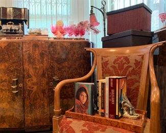 Art Deco Cabinet in Burl Wood with Marble Top, Italian Fruitwood Armchair