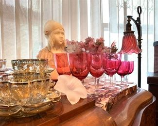 Art Deco Marble Bust of a Young Girl, Signed M. Pedrini, Gilt Enameled Moser Glass Finger Bowls and Plates