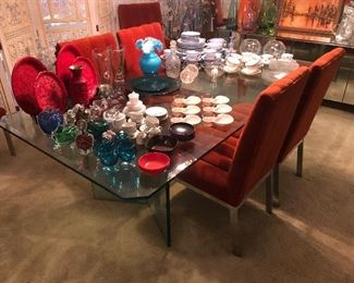 Neiman Marcus Mid Century Chrome/Glass Dining table with 6 Chrome upholstered chairs.