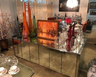 Vintage Mid Century mirrored buffet