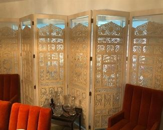 Large carved Asian antique room screen