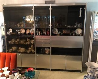 Mid Century Wall unit and locking pull down mirrored bar