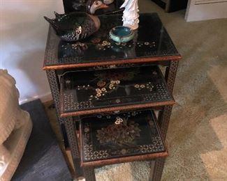 Hand painted black enamel Asian nesting tables