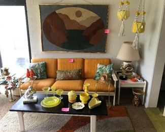 Made in Italy 1960's coffee table, sofa, end table and chair