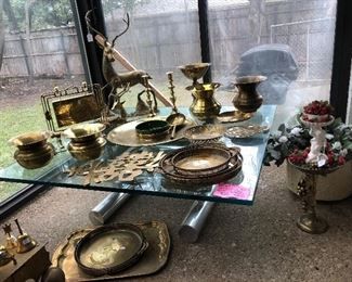 Tons of vintage brass, very cool Chrome and Glass Cocktail table