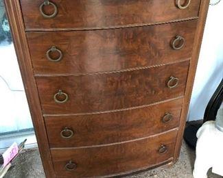 Burled mahogany antique chest