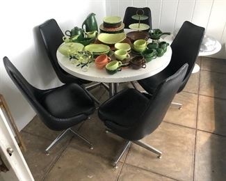 Mid Century dining table with 5 chairs, original upholstery!