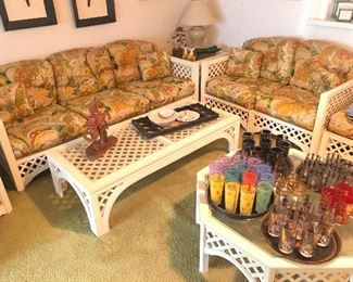 Cool 1970's pit group with 2 coffee tables, loveseat, sofa, ottman and chair with 2 end tables plus console table and eterge!