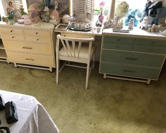 Early 1960's girls bedroom set with twin bed and canopy with 2 matching night stands