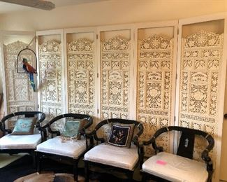 Carved antique room screen