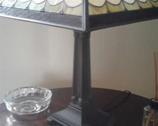 Mission stained glass lamp