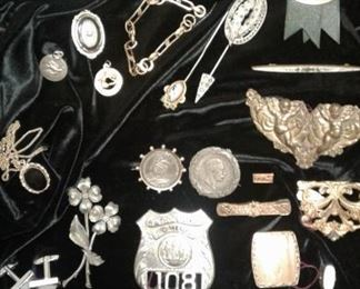 Ooohh-today's finds!  Vintage WWII Military bring back Third Reich coins, Victorian, Butterfly wing in sterling necklace, invalid feeder, ALBANY POLICE BADGE!   (obsolete)