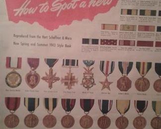 HUGE HART SCHAFFNER & MARX WWII MEDALS POSTER-HOW COOL