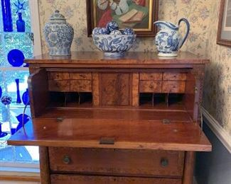 Antique Maple Burlwood Secretary/Chest...Gorgeous and a must see!