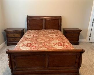 Sleigh Bed with Matching End Tables