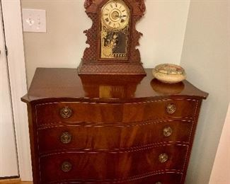 4 Drawer Antique Chest, Antique Gingerbread Clock