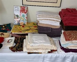linens including towels, tablecloths, sheets and blankets