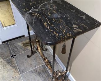 HALLWAY TABLE MARBLE TOP WITH CAST IRON AND BRASS BASE